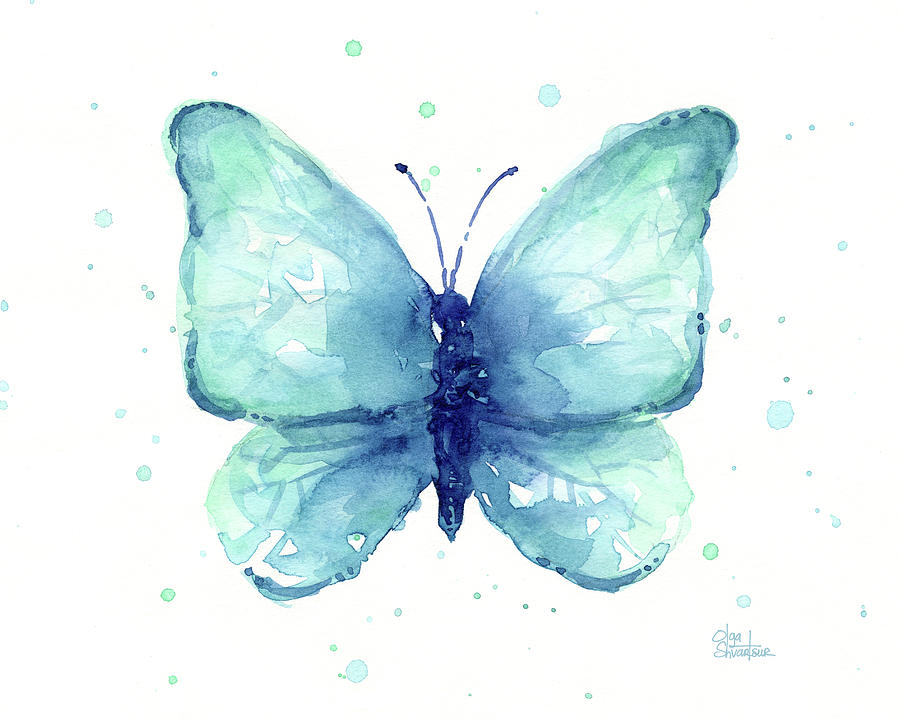 Blue Butterfly Watercolor Painting By Olga Shvartsur