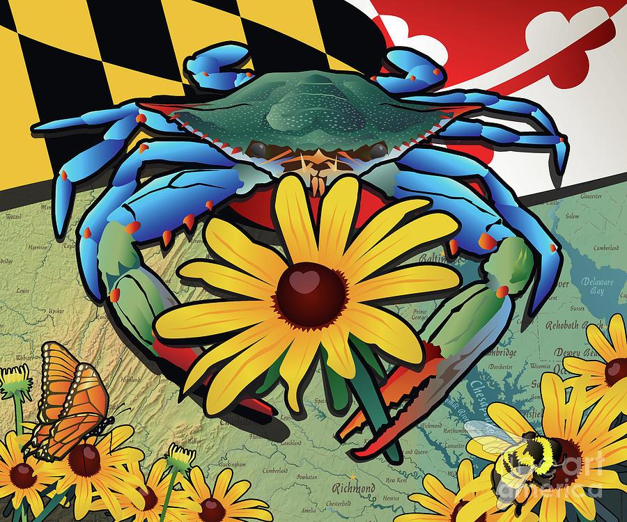 Maryland Digital Art - Blue Crab Maryland Black-Eyed Susan by Joe Barsin