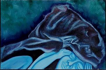 Figurative Painting - Blue Dream by Mary Silver