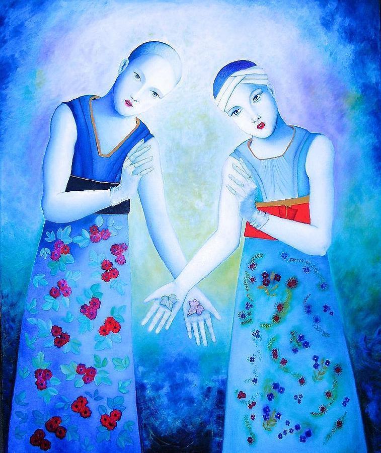 Human Figure Painting - Blue Friendship by Luisa Villavicencio