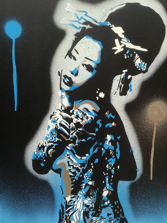 Blue Painting - Blue Geisha by Leon Keay