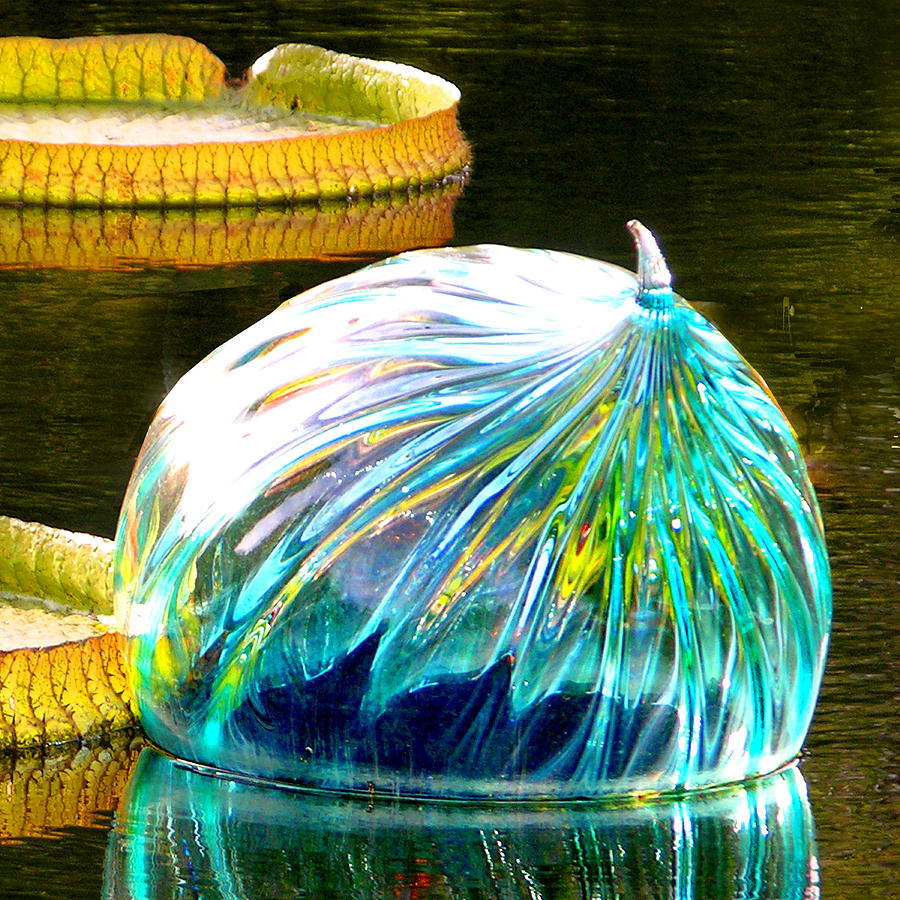 Blown Glass Photograph - Blue Glass Reflections by John Lautermilch