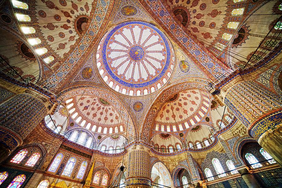 Arch Photograph - Blue Mosque Interior by Artur Bogacki