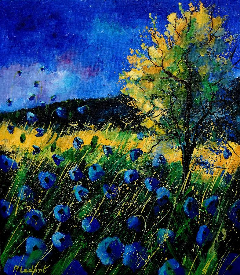 Poppies Painting - Blue Poppies  by Pol Ledent
