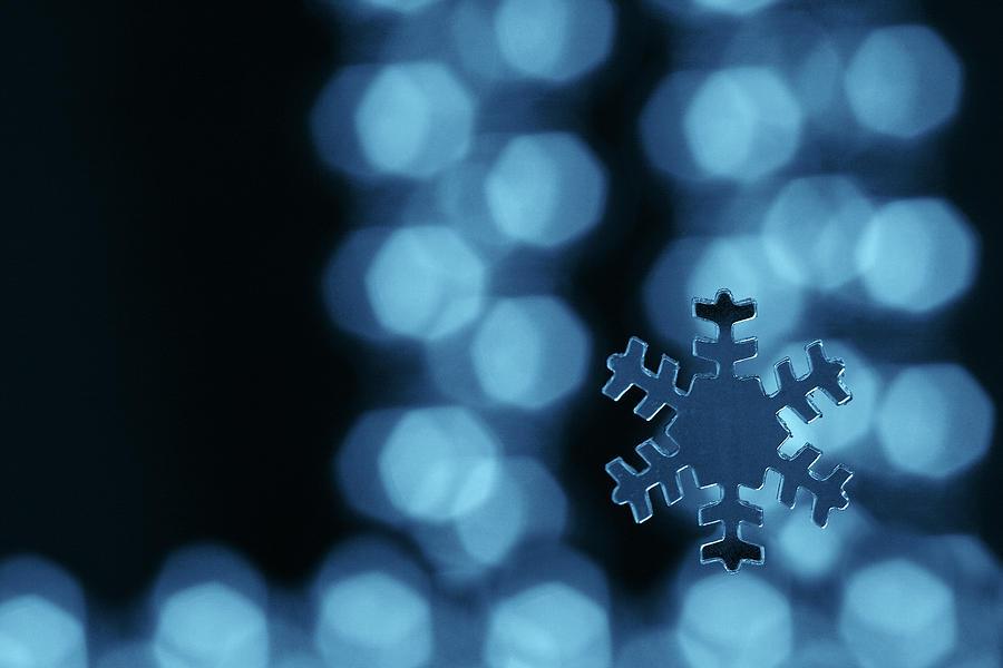 Snowflake Photograph - Blue Snowflake by Jouko Mikkola