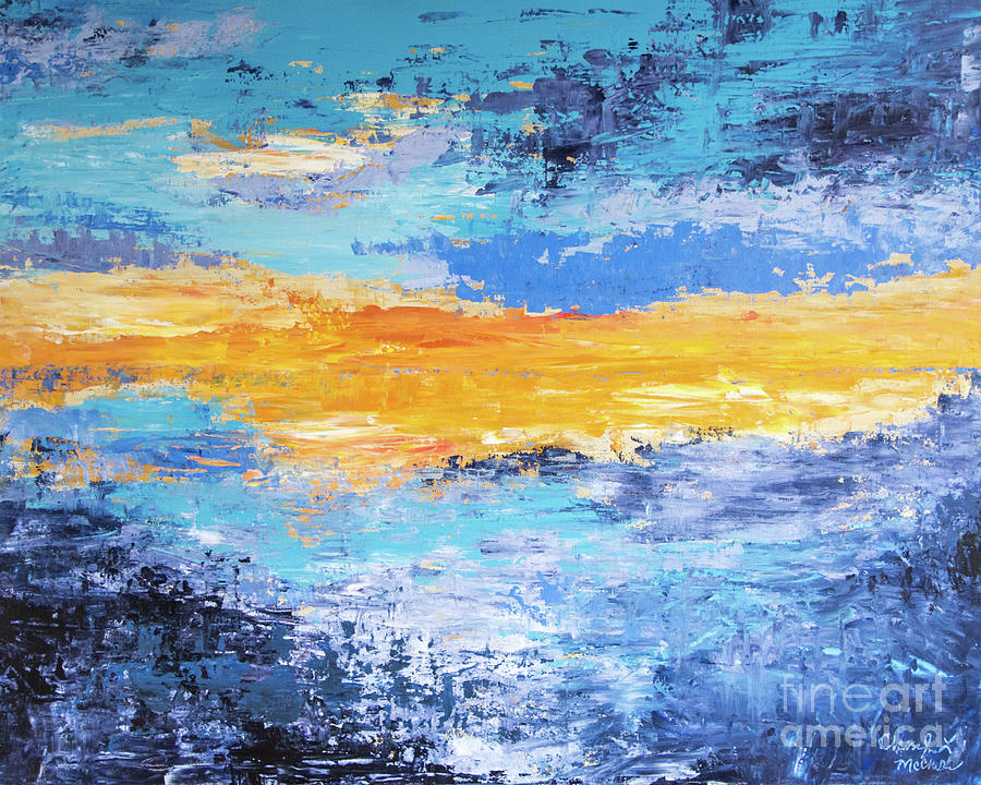 Sunset Painting - Blue Sunset by Cheryl McClure