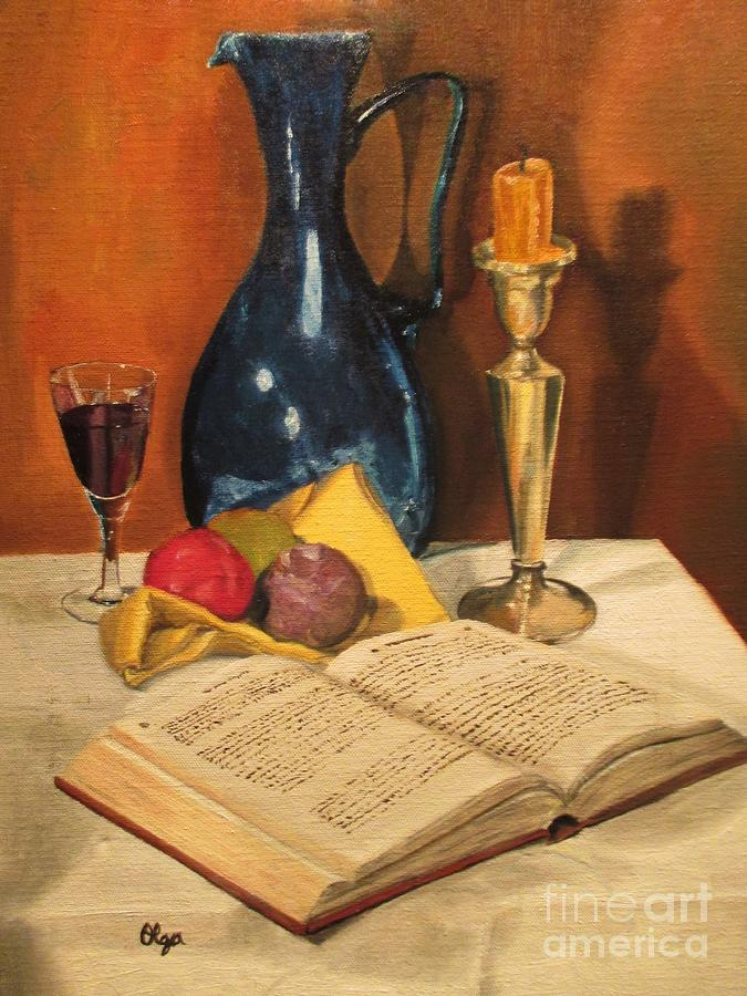 Blue Vase and Book by Olga Silverman