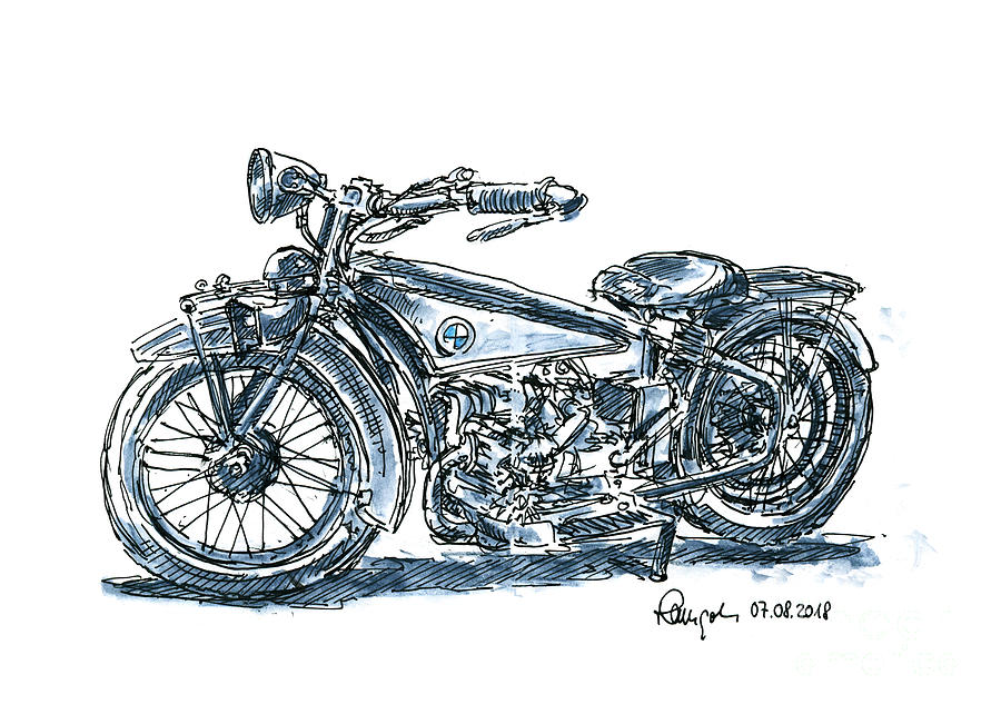 Motorbike Drawing - BMW R32 Classic Motorbike Ink Drawing and Watercolor by Frank Ramspott