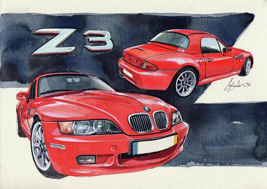 Bmw Z3 Painting - Bmw Z3 by Yoshiharu Miyakawa