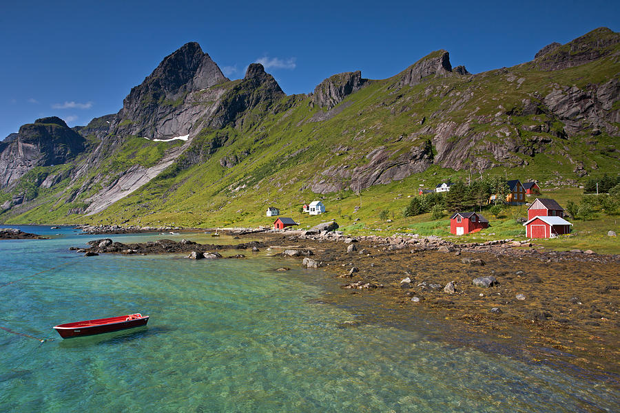 Boat, Sea And Mountains Photograph