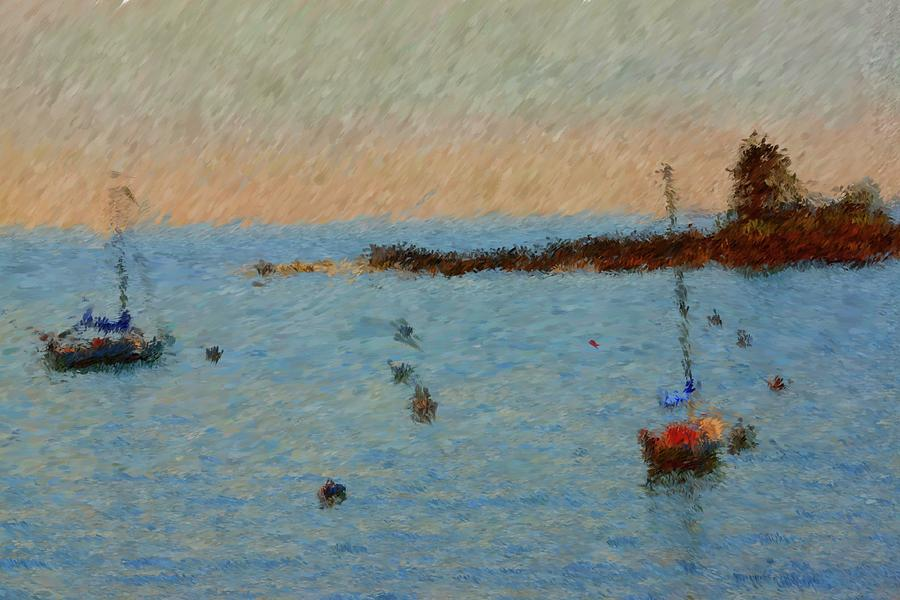 Smugglers Cove Painting - Boats At Smugglers Cove Boothbay Harbor Maine by Viktor Arsenov