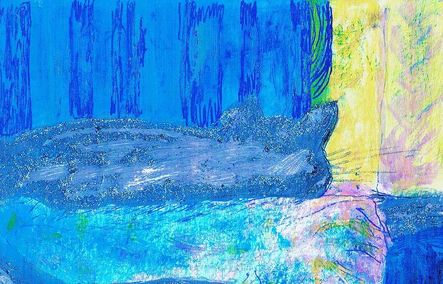 Cat Mixed Media - Bob Sleeping by Anne-Elizabeth Whiteway