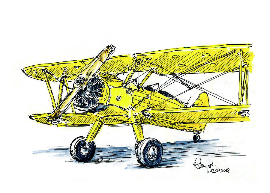 Boeing Stearman Aircraft Ink Drawing And Watercolor