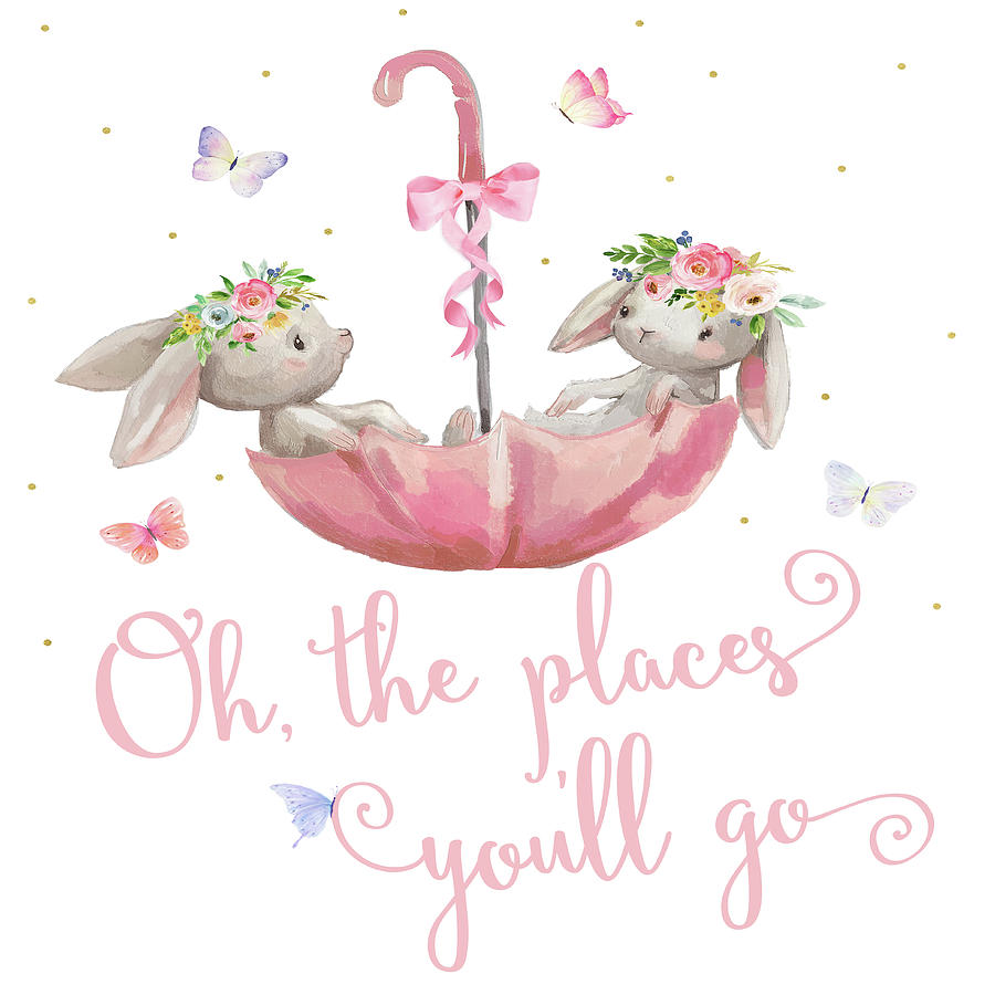 Oh The Places You'll Go Digital Art - Boho Bunny Rabbits Bunnies Umbrella Watercolor Nursery Wall Art Print Pillow by Pink Forest Cafe
