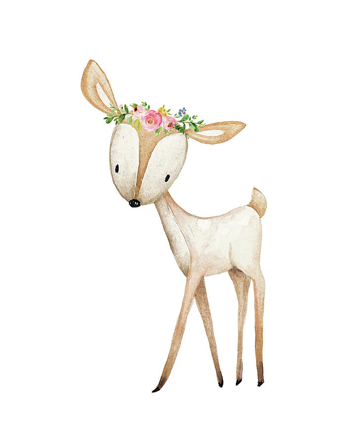 Boho Woodland Baby Nursery Deer Floral Watercolor Digital