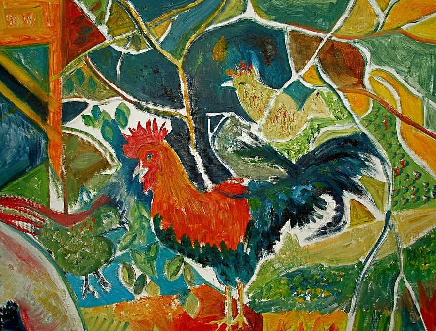 Cockerel Painting - Bonjour Ma Jollie by Mike Shepley DA Edin