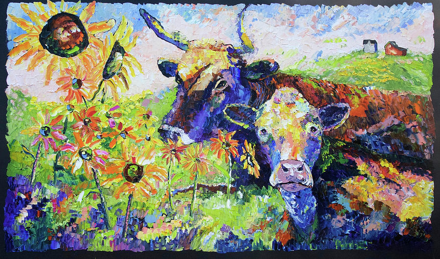 Cow Painting - Bonnie And Clyde 1 by Carrie Jacobson