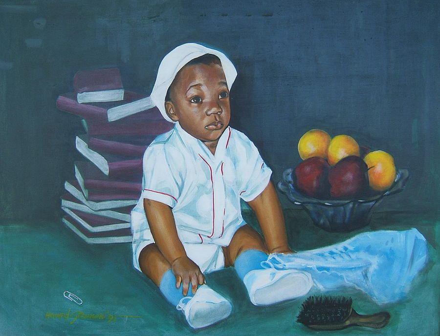Child Painting - Books And Fruit by Howard Stroman
