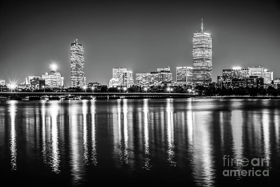 America Photograph - Boston Skyline At Night Black And White Picture by Paul Velgos