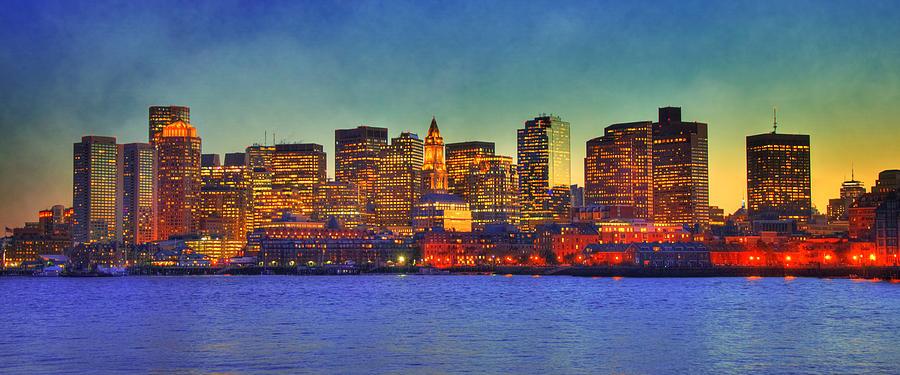 Boston Photograph - Boston Skyline Sunset by Joann Vitali