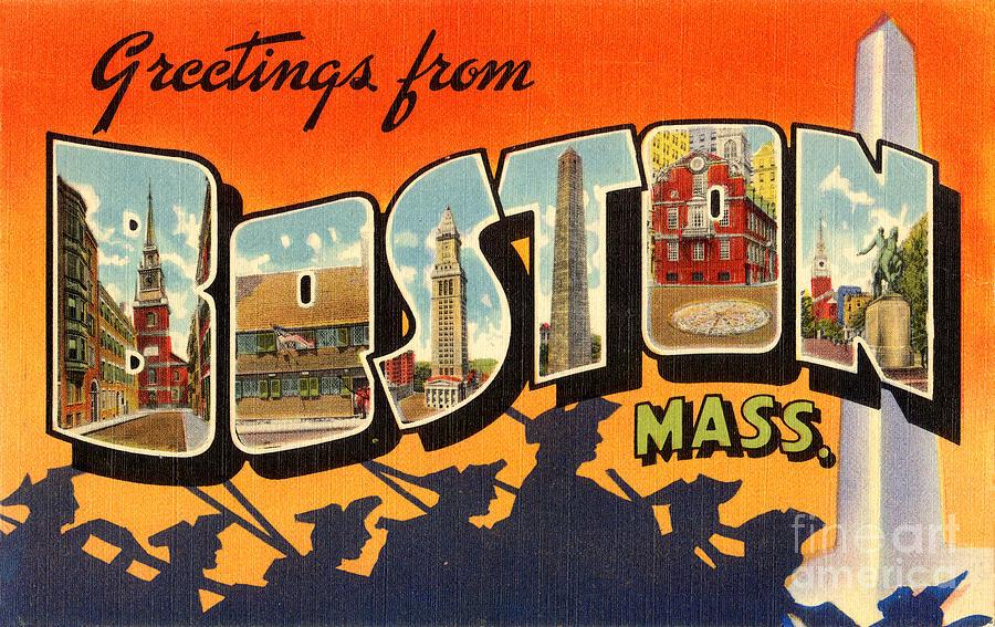 Travel Painting - Boston Vintage Travel Postcard Restored by Vintage Treasure