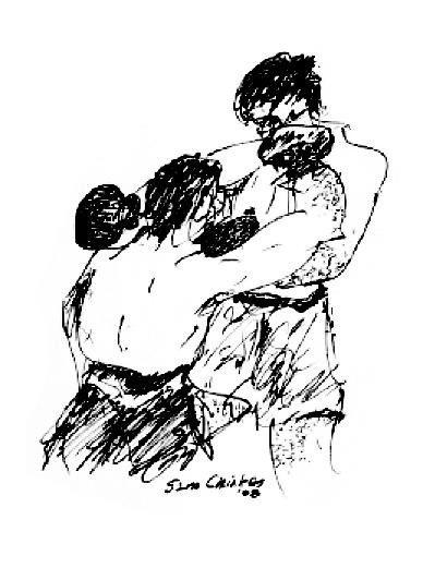 Boxing Drawing - Boxing by Sam Chinkes