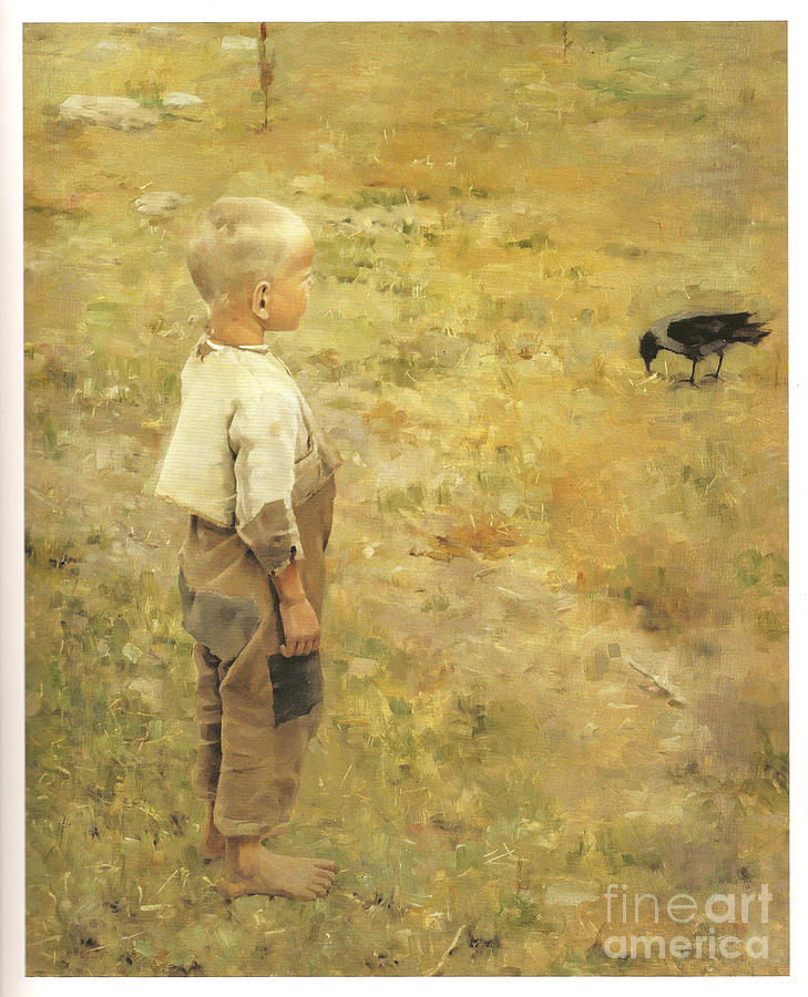 Akseli Gallen-kallela Painting - Boy With A Crow by Akseli Gallen-Kallela