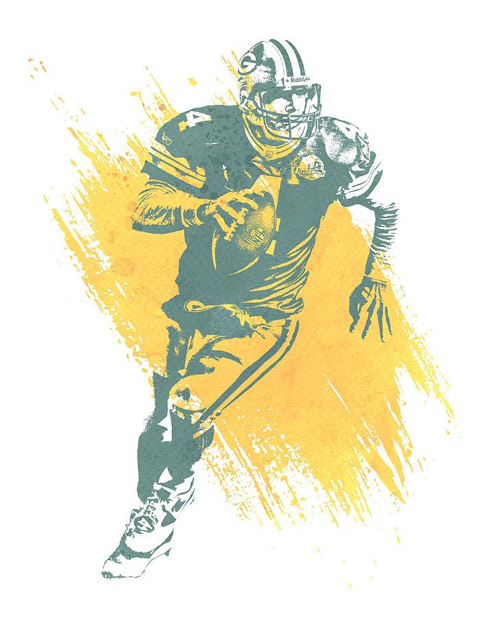 Brett Favre Mixed Media - Brett Favre Green Bay Packers Water Color Art 1 by Joe Hamilton