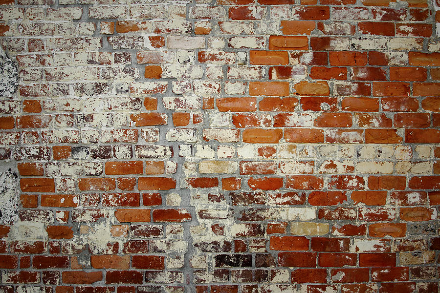 Rough Photograph - Brick Wall by Les Cunliffe