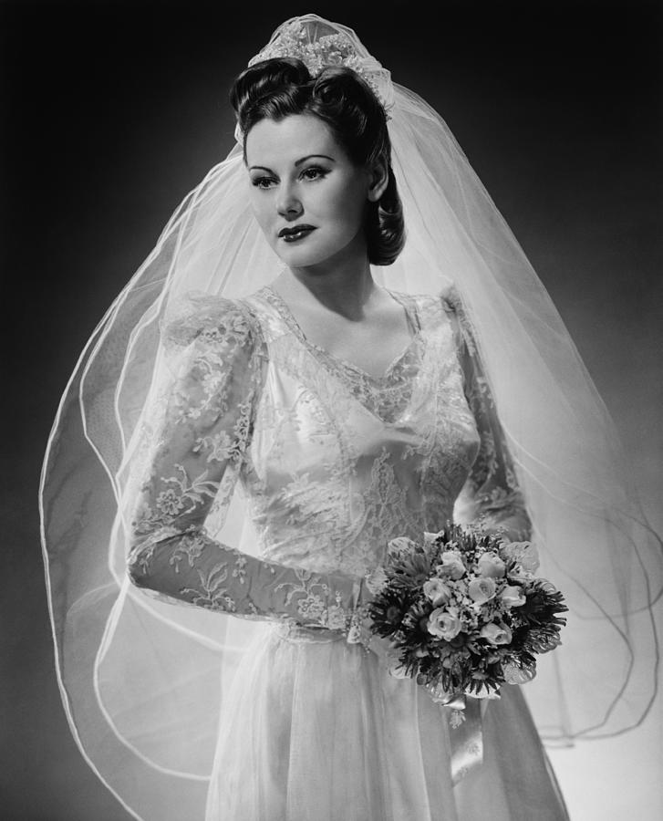 Adult Photograph - Bride Posing In Studio, (b&w), Portrait by George Marks