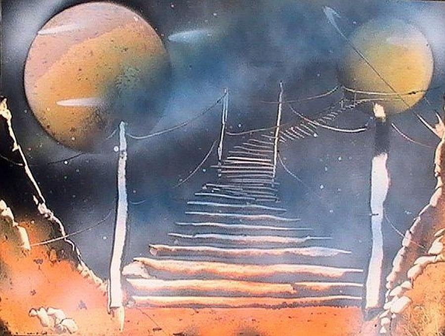 Spray Paint Painting - Bridge To Space by My Imagination Gallery