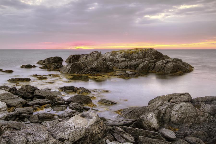 Fog Photograph - Brigus South Sunrise by Geoffrey Whiteway
