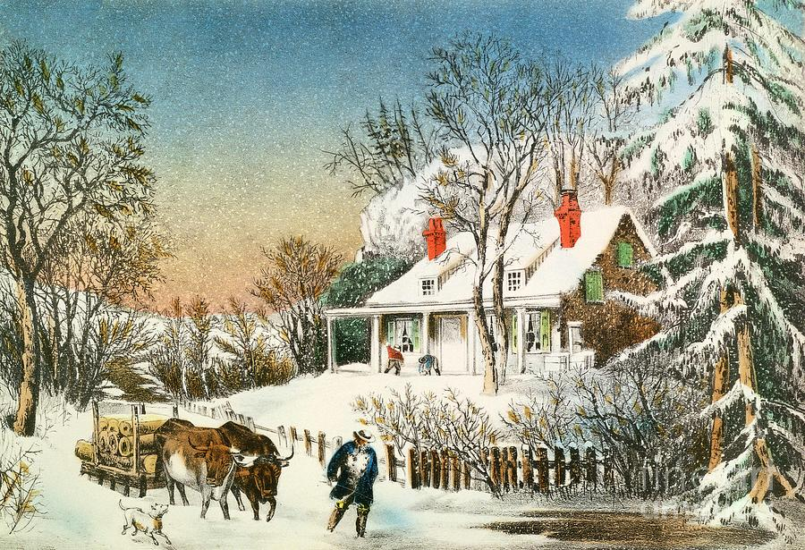 Bringing Painting - Bringing Home The Logs by Currier and Ives