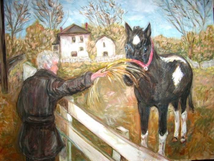 Brown And White Horse Painting by Joseph Sandora Jr
