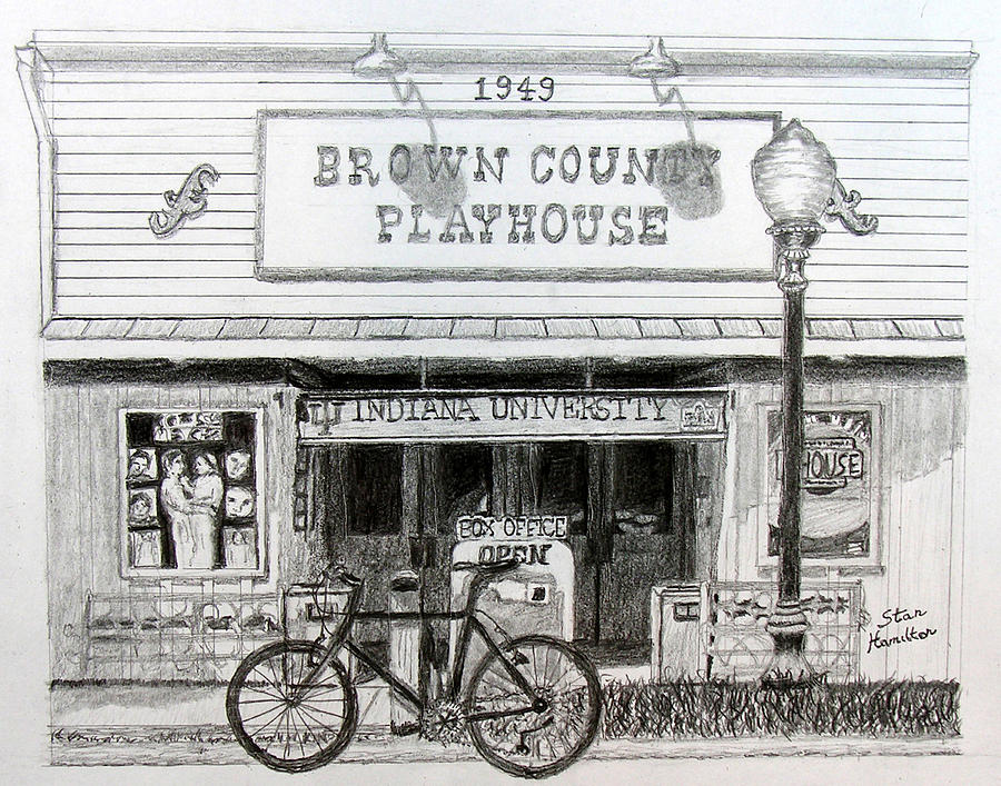 Bicycle Drawing - Brown County Playhouse by Stan Hamilton