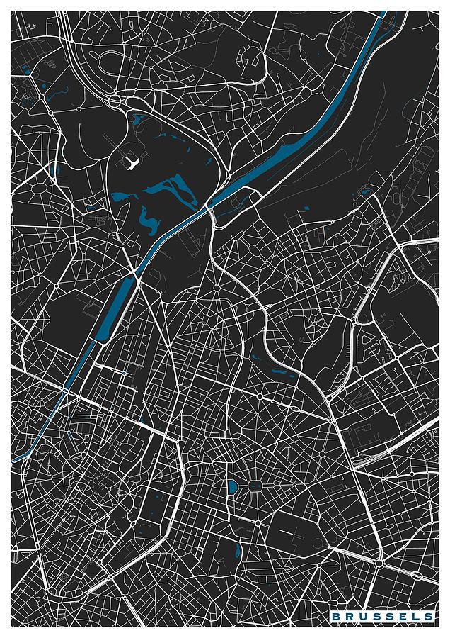 Map Digital Art - Brussels City Map Black Colour by Marina Constandinou