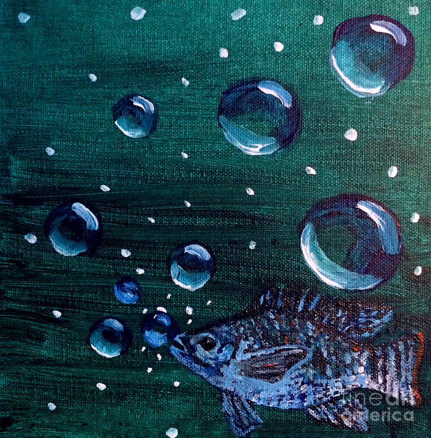 Fish Painting - Bubble Fish Underwater by Janelle Dey