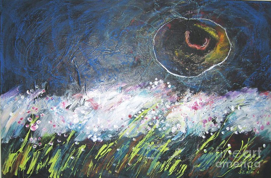 Landscape Paintings Painting - Buckwheat Field by Seon-Jeong Kim