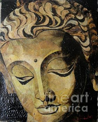 Leaf Painting Painting - Buddha Face by Le Dac Trung