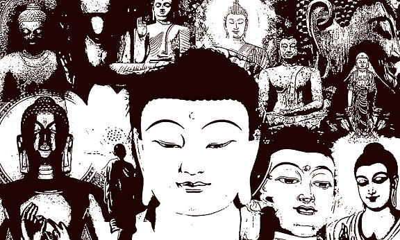 Paintings Painting - Buddha Faces by Sneha Waghmare