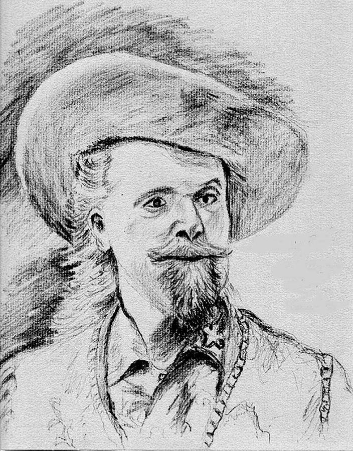 Pencil Drawing - Buffalo Bill by Stan Hamilton
