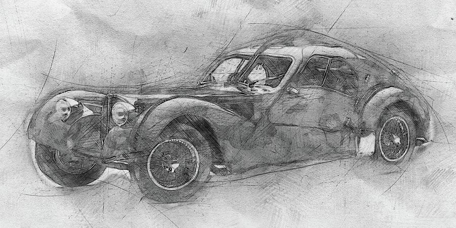 Bugatti Type 57 - Atlantic - 1934 - Automotive Art - Car Posters Mixed Media