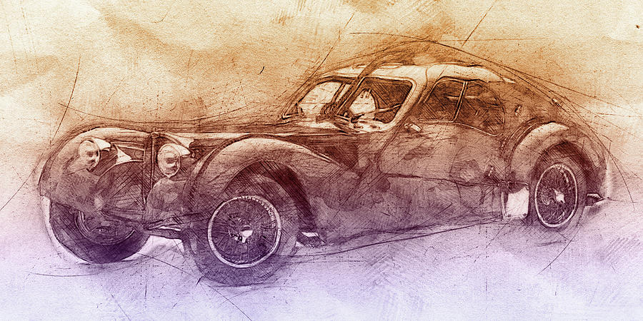 Bugatti Type 57 - Atlantic 2 - 1934 - Automotive Art - Car Posters Mixed Media