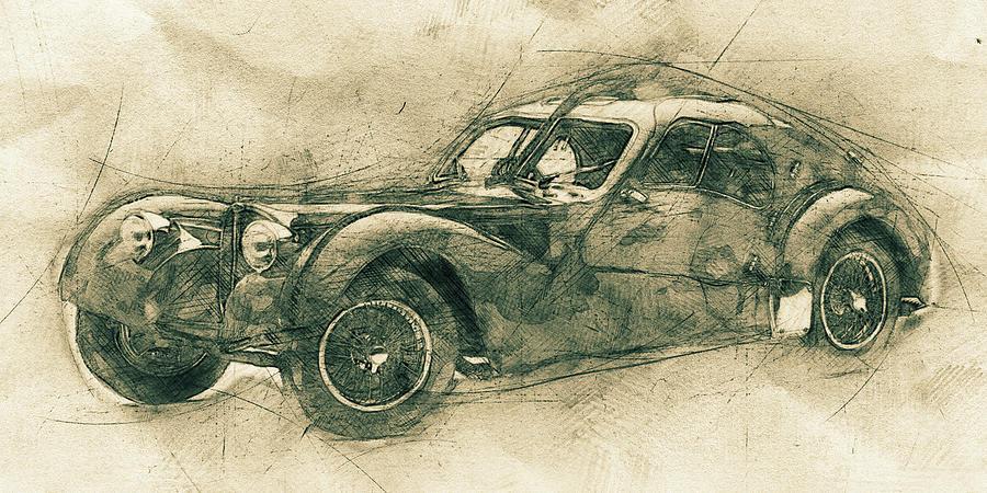 Bugatti Type 57 - Atlantic 3 - 1934 - Automotive Art - Car Posters Mixed Media