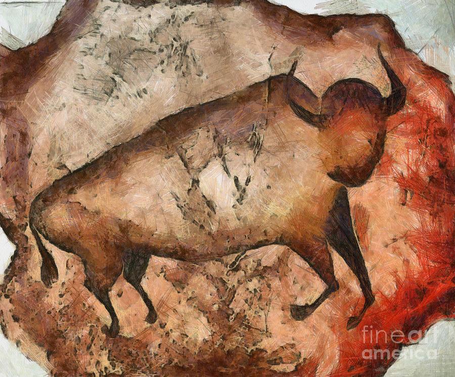 Abstract Mixed Media - Bull A La Altamira by Michal Boubin