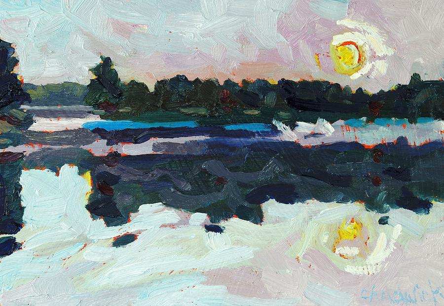 Sun Painting - A New Dawn On Buzzard Lake by Phil Chadwick