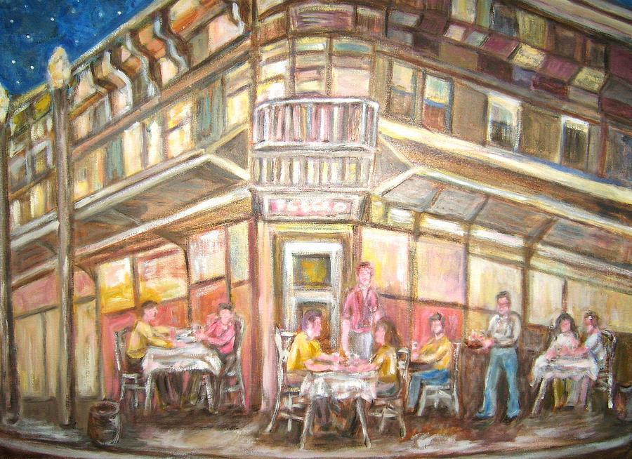 Paris Landscape Painting - Cafe by Joseph Sandora Jr