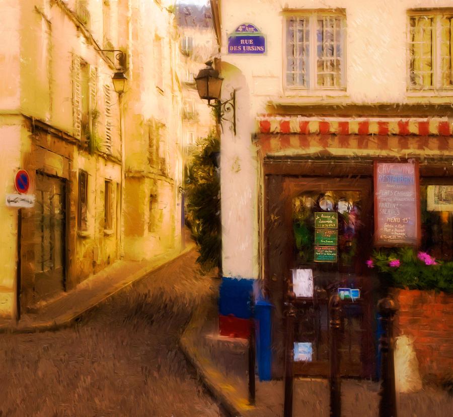 Paris Digital Art - Cafe On The Rue Des Ursins by Mick Burkey