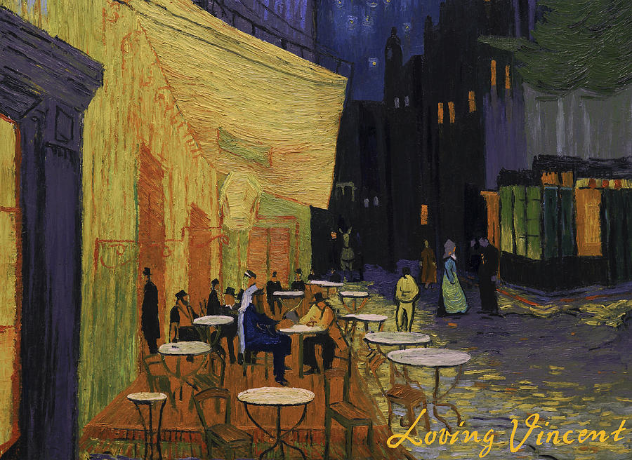 Cafe Terrace at Night Painting by Marlena Jopyk-Misiak