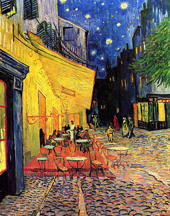 Cafe Terrace Painting - Cafe Terrace Place Du Forum At Night by Vincent Van Gogh